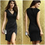 OEM Deep V-Neck Haute taille Sexy Black Women Split Dresses