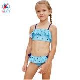 Peu d'étoiles bleu turquoise d'impression de petites filles en bikini en nylon à deux pièces