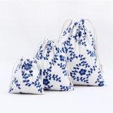 Commerce de gros Custom petite coulisse en mousseline de sacs en toile de coton