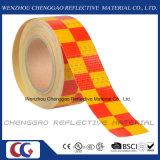 PVC jaune et rouge ruban réfléchissant Checkr Avertissement de sécurité (C3500-G)