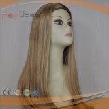 Máquina cheia de enraizamento do estilo da cor loura superior de Remy da classe a cara fêz a peruca da queda da faixa (PPG-l-0726)