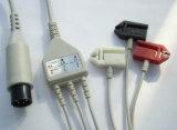 Moniteur médical 6pin IEC/Aha Snap&Clip 3/5 câble d'ECG