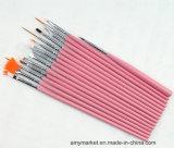 Insieme di spazzole di legno del chiodo di trucco dello strumento della decorazione del chiodo del pennello del chiodo della maniglia dei capelli fini