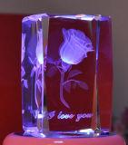 Роторный гравировальный станок лазера для кристалла/стекла