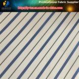 Tela de materia textil teñida azul de la guarnición del llano de la raya de los hilados de polyester de los hombres (S101.118)