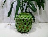 Groene Ceramische Lantaarn met het Handvat van het Metaal