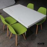 4人のための純粋で白いアクリルの固体表面のダイニングテーブル