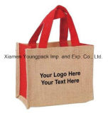 Moda promocional personalizado de dois tons naturais sacola pequenos sacos de juta