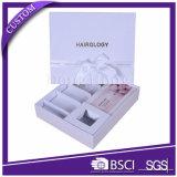 Коробка подарка шикарного белого изготовленный на заказ логоса косметическая упаковывая с тесемкой