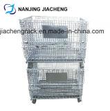 Paleta de acero soldada rígida de la jaula del almacenaje plegable y amontonable