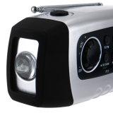 Luz de camping con la mano solar Crank FM Radio MP3 Player