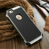 Metallbeschaffenheit PU-Leder-Rückseiten-Fall-Deckel für iPhone 6 galvanisieren