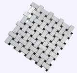 Mosaico mezclado Polished de Basketwave con el PUNTO negro