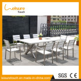 Tabela de jantar moderna de alumínio barata do pátio da boa qualidade e mobília ao ar livre do hotel do jardim de 8 cadeiras