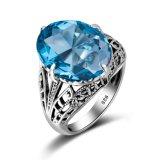 925 de alta qualidade Sterling bodas de prata anel com Pedra Azul