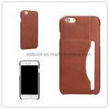 La caja del teléfono del cuero de la contraportada de la ranura para tarjeta/el caso/Samsung del iPhone telefonan el caso