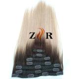 Grampo de cabelo Mongolian desenhado natural da cor de tom dois na extensão do cabelo humano