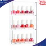 Venta caliente claro de uñas de acrílico de 3 capas del Organizador, Organizador de cosméticos