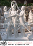Drei Umgangsformen marmorn Skulptur mit hochwertigem (SK-2450)
