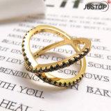 Мода украшения золотым покрытием Diamond CZ X Креста кольцо