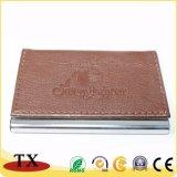 Cuir d'affaires et métal de vente chauds Cardcase nommé avec le logo gravé en relief
