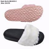 Pistoni della pelliccia della peluche di EVA del sandalo della trasparenza delle donne soli
