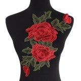 최신 판매 큰 크기 옷을%s 빨간 꽃 아플리케