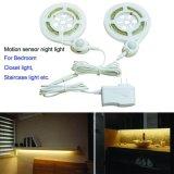 L'indicatore luminoso automatico di notte del sensore per la camera da letto, la scala dell'armadio, movimento ha attivato la striscia flessibile chiara della base LED
