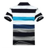 자수 염색된 새로운 디자인 털실은 남자 폴로 t-셔츠를 줄무늬로 한다