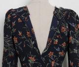 Kleid V-Stutzen der eleganten Frauen 2017new mit einer definierten Taille