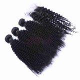 熱い販売のねじれたカール100%の加工されていないバージンのインドの毛のよこ糸