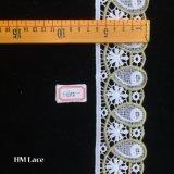 6cmは、白いレースファブリックを離れて、白いファブリックをアイレットレース、円形の円の綿のレースファブリック、くり抜かれたHme802刺繍した