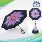 Paraguas creativo invertido asta larga reversa a prueba de viento de la protección de lluvia del soporte del uno mismo de la capa doble del paraguas del C-Gancho de leva