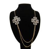 2 꽃은 장 아크릴 모조 다이아몬드 2 사슬 목걸이 형식 보석을 식각했다