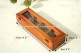Rectángulo de madera del té de presentación de la vendimia antigua de la caja