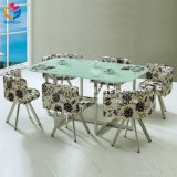 La moderna estructura de acero superior de cristal juegos de mesa de comedor con sillas