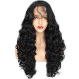 Dlme lang natürliche schwarze Karosserien-Wellen-synthetische Haar-Perücke