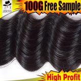 Cheveux humains indiens opportuns de la distribution 6A Remy de Kbl