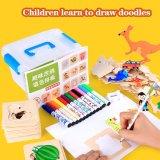 Bambini di legno del modello del fumetto dell'illustrazione del bambino che imparano i giocattoli educativi di puzzle per i capretti
