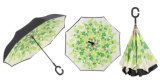 Ombrello antivento dell'ombrello d'inversione Double-Deck della maniglia di C