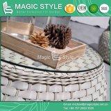 Sofà di svago del rattan con il tavolino da salotto di vimini esterno di tessitura di vimini del rattan del giardino del sofà del sofà dell'ammortizzatore