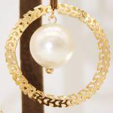 Bisutería vaciar el círculo de la Perla de imitación Cordón Drop Earrings