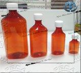Botellas plásticas de la farmacia oval líquida con los casquillos a prueba de niños