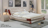 بيضاء حديث [جنوين لثر] سرير مع إبزيم (988)