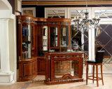 Tabella d'ottone di lusso della barra della decorazione di stile di legno reale italiano della mobilia 0029