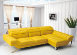 Sala de estar com sofás de pele artificial sofá L Shap amarelo