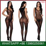 Black V-Neck femmes montrant les mamelons de sous-vêtements