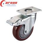 100mm mittlere Aufgaben-Schwenker PU-Fußrolle mit seitlicher Bremse
