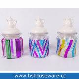 Mini vasi di vetro con il coperchio di ceramica