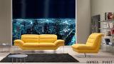 Sofa chinois de cuir véritable de meubles avec la couleur jaune